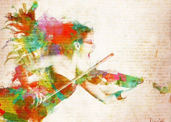 Violin Greeting Card featuring the digital art Can You Hear Me Now by Nikki Smith