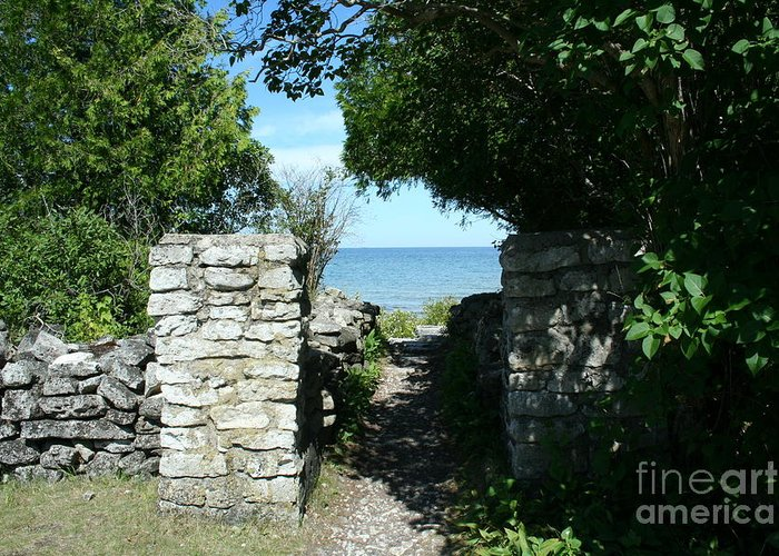 Cana Island Greeting Card featuring the mixed media Cana Island Walkway Wi by Tommy Anderson