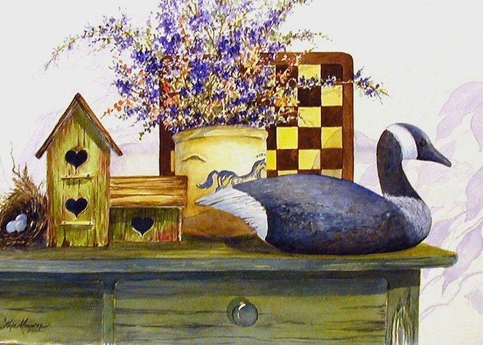 Canada Goose;birdhouse;bird Nest;crock;checkerboard;still Life;country Still Life; Greeting Card featuring the painting Canada And Checkerboard by Lois Mountz