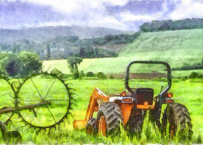 Tractor Greeting Card featuring the photograph Canadian Farmland With Tractor by Betty Denise