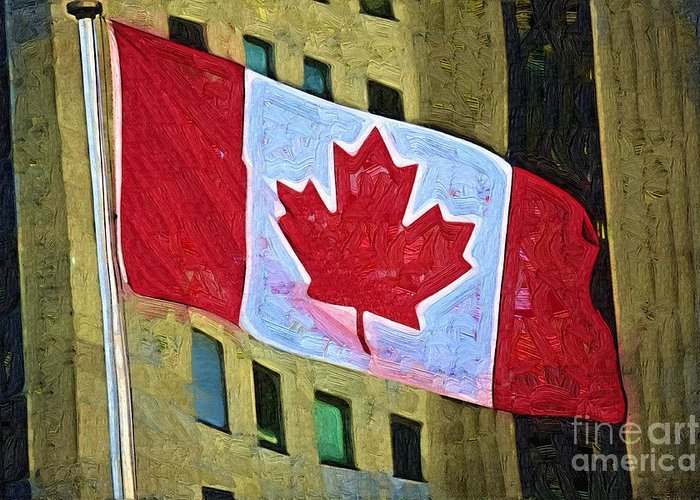 Canadianflag Greeting Card featuring the painting Canadian Flag by Deborah Selib-Haig DMacq