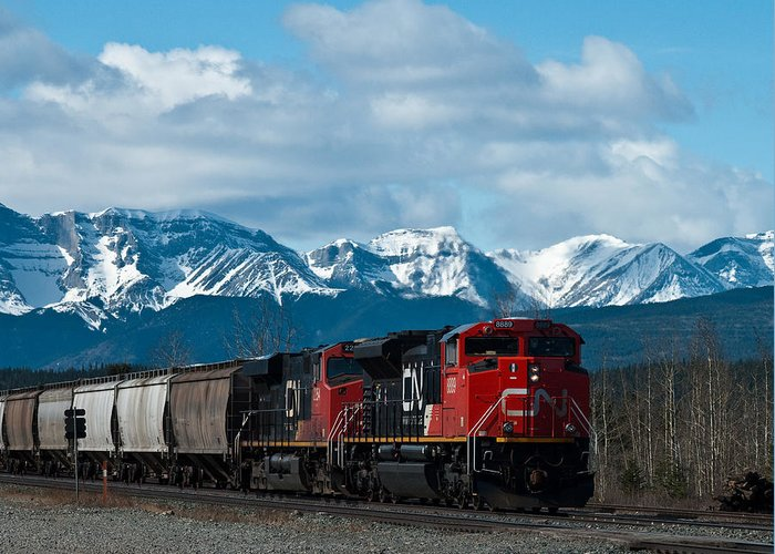 Alberta Greeting Card featuring the photograph Canadian National Freight Train Leaving The Rockies - Hinton Alberta by R J Ruppenthal