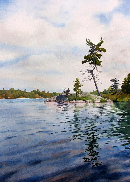 Lake Greeting Card featuring the painting Canadian Shield Sculpture by Debbie Homewood