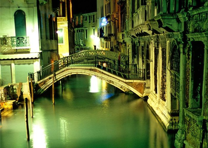 Venice Greeting Card featuring the photograph Canal And Bridge In Venice At Night by Michael Henderson