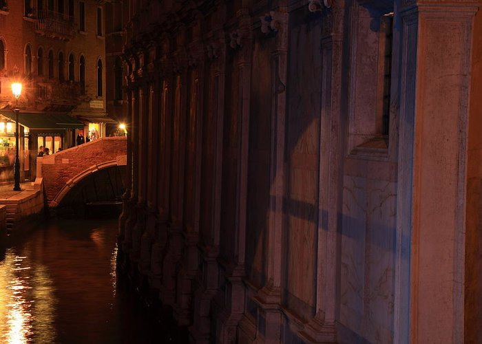 Venice Greeting Card featuring the photograph Canal By The Church Of The Miracoli In Venice At Night by Michael Henderson