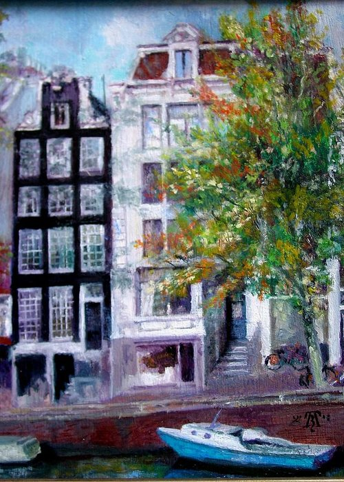 Canal Boat Flat House Amsterdam Landscape Cityscape Greeting Card featuring the painting Canal House Amsterdam by TBH Fine Art