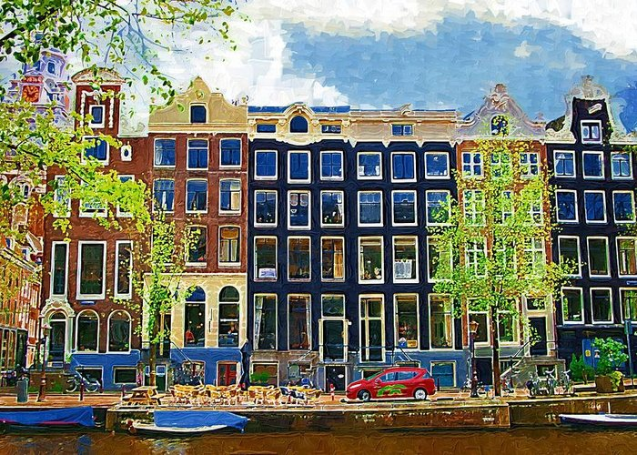 Amstersdam Greeting Card featuring the photograph Canal Houses by Tom Reynen