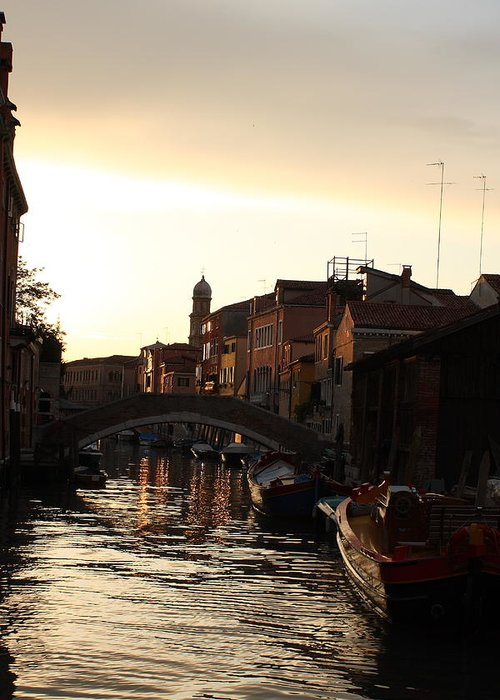 Venice Greeting Card featuring the photograph Canal In Venice At Sunset by Michael Henderson