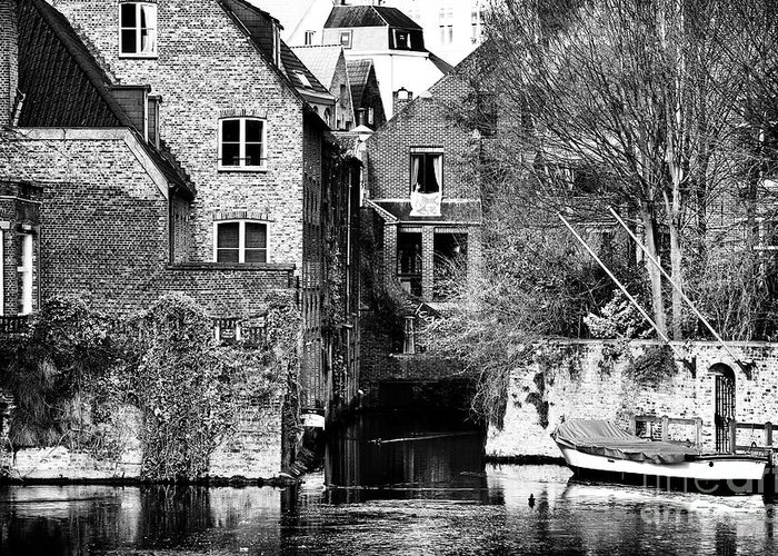Canal Living In Bruges Greeting Card featuring the photograph Canal Living In Bruges by John Rizzuto