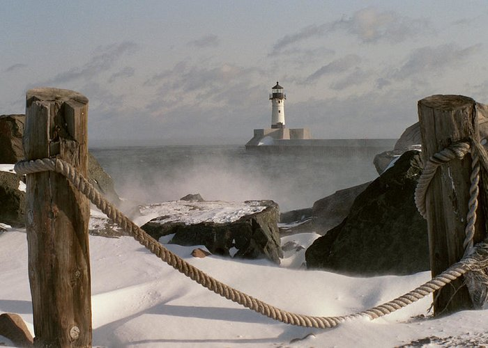 Lighthouse Greeting Card featuring the photograph Canal Park Lighthouse by Heidi Hermes