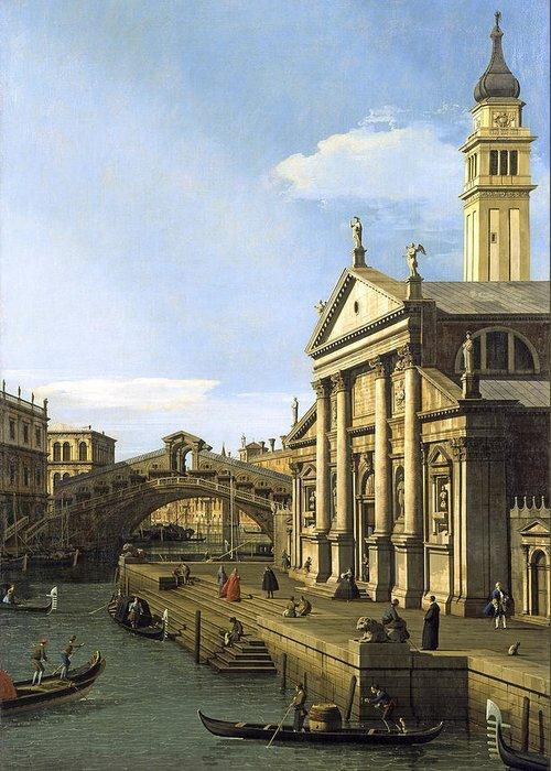 Capriccio The Rialto Bridge And The Church Of S. Giorgio Maggiore By Canaletto Greeting Card featuring the digital art Canaletto by Mark Carlson