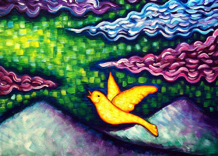 Bold Color Greeting Card featuring the painting Canary Escapes Coalmine by Brenda Higginson