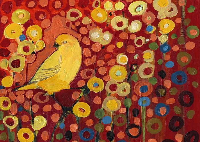 Canary Greeting Card featuring the painting Canary in Red by Jennifer Lommers
