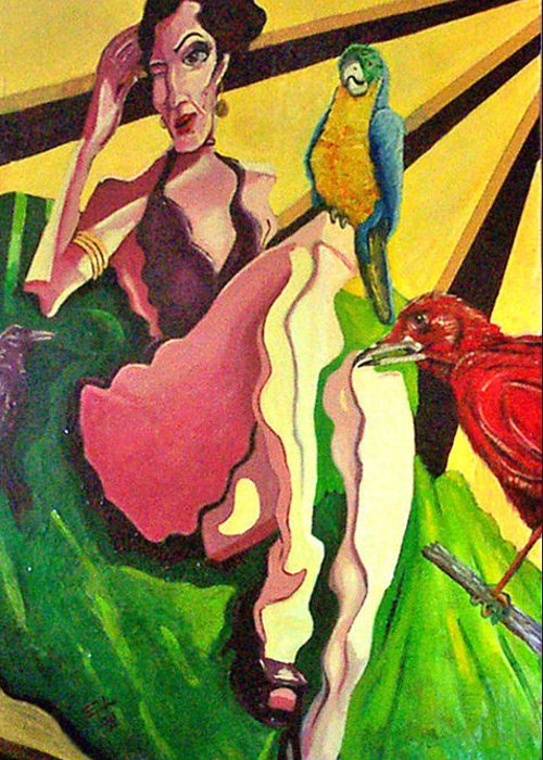 Figurative Greeting Card featuring the painting Cancion Del Pajaro by Elio Lopez