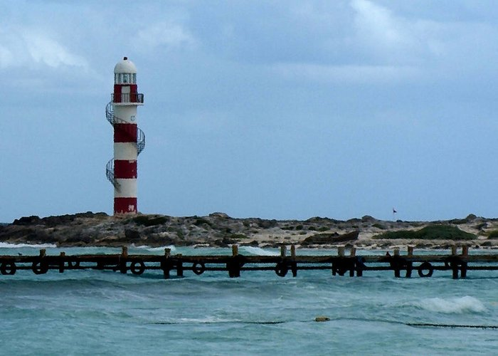 Seashore Greeting Card featuring the photograph Cancun Lighthouse by Connie Diane Richards