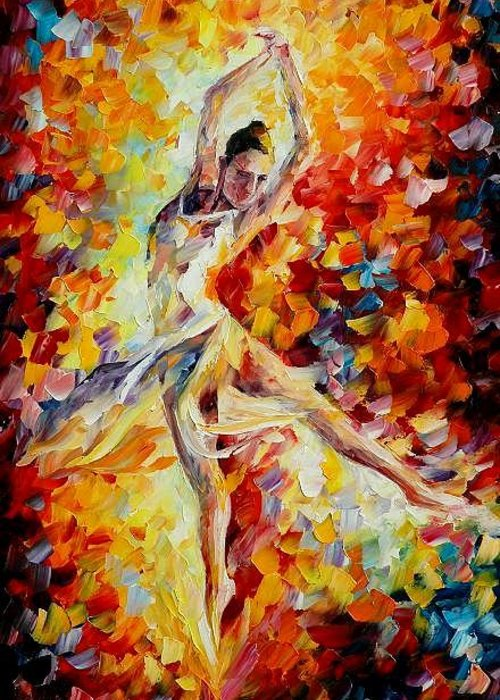 Danse Greeting Card featuring the painting Candle Fire by Leonid Afremov