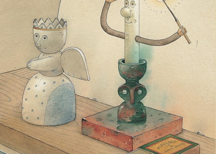 Candle Angel Evening Greeting Card featuring the painting Candle by Kestutis Kasparavicius