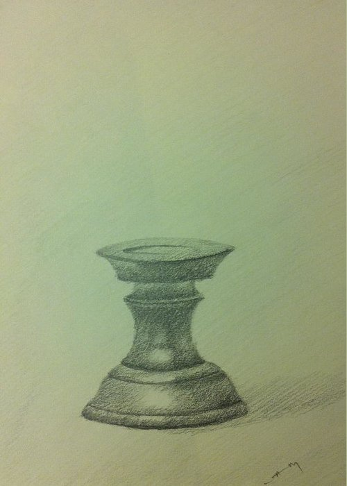 Pencil Greeting Card featuring the ceramic art Candle Stand Study by Krishnamurthy S