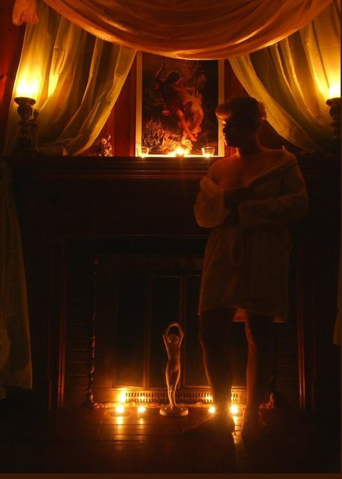 Woman Greeting Card featuring the photograph Candlelight Glow by Scarlett Royal