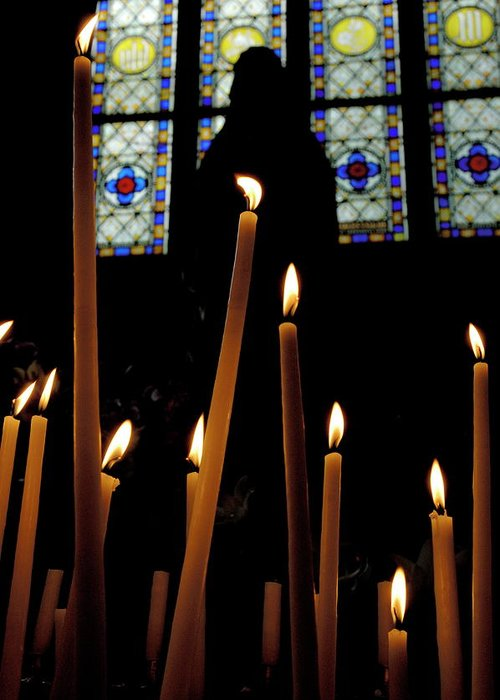 Basilica Greeting Card featuring the photograph Candles Burning Inside The Basilica Of The Saint Sauveur by Sami Sarkis