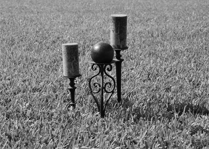 Black And White Greeting Card featuring the photograph Candles In Grass by Rob Hans