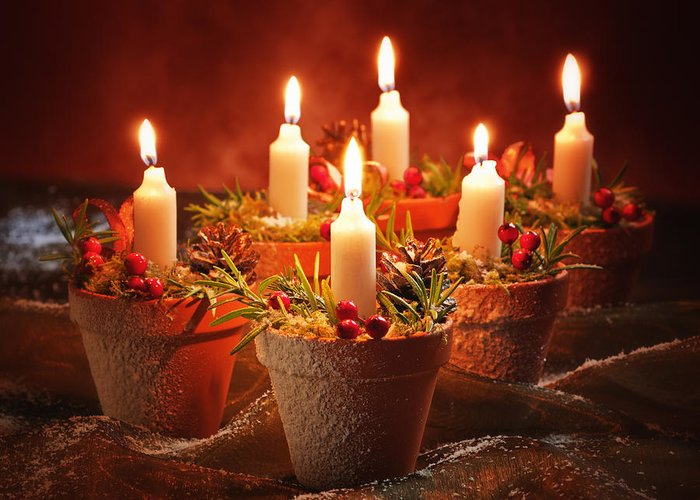 Christmas Greeting Card featuring the photograph Candles In Terracotta Pots by Amanda Elwell
