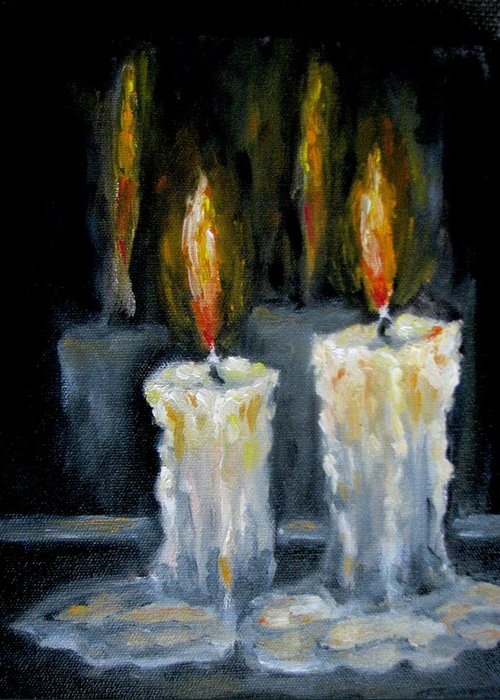 Candles Greeting Card featuring the painting Candles oil painting by Natalja Picugina