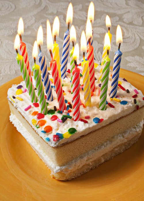 Flame Greeting Card Featuring The Photograph Candles On Birthday Cake By Garry Gay