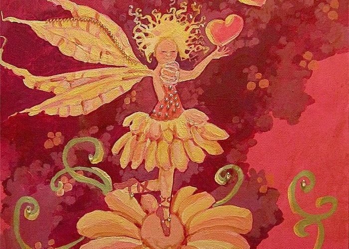 Fairy Hearts Pink Flower Drawings Greeting Cards
