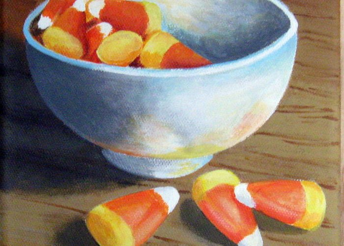 Candy Corn Greeting Card featuring the painting Candy Corn by Sharon Marcella Marston
