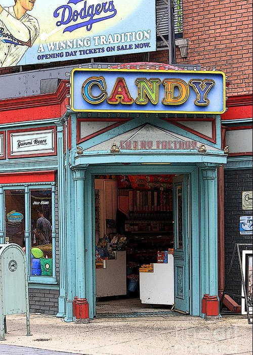 Candy Store Greeting Card featuring the photograph Candy Store Cartoon by Sophie Vigneault