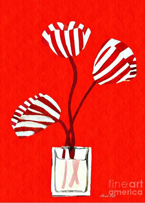 Tulip Greeting Card featuring the mixed media Candy Stripe Tulips by Sarah Loft