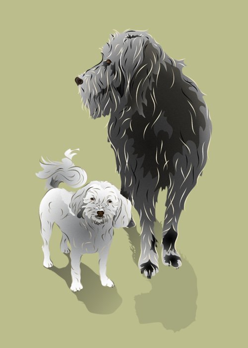 Dog Greeting Card featuring the digital art Canine Friendship by MM Anderson
