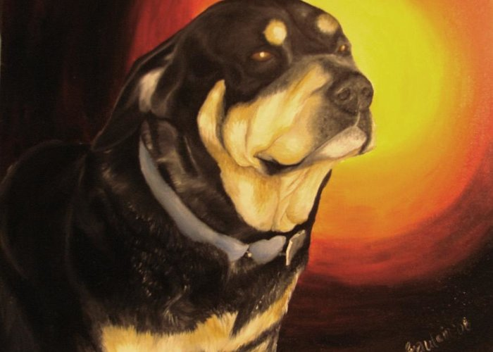 Paintings Greeting Card featuring the painting Canine Vision by Glory Fraulein Wolfe