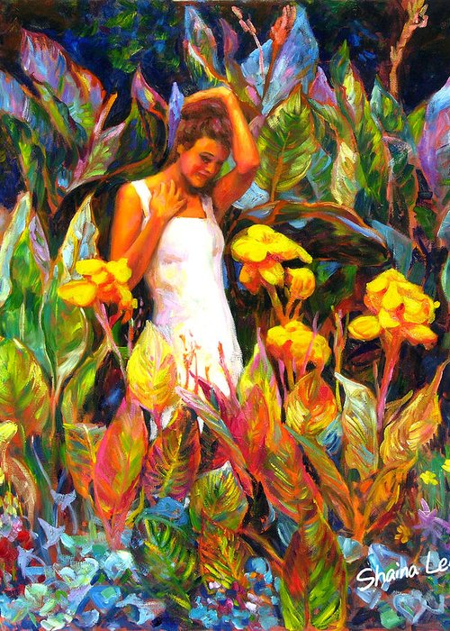 Canna Greeting Card featuring the painting Canna by Shaina Lee