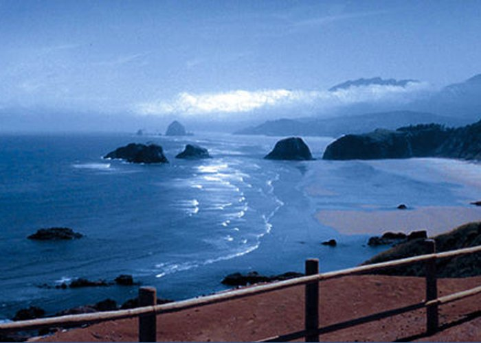 Cannon Beach Greeting Card featuring the photograph Blue Waters On Cannon Beach by Joanne Rungaitis