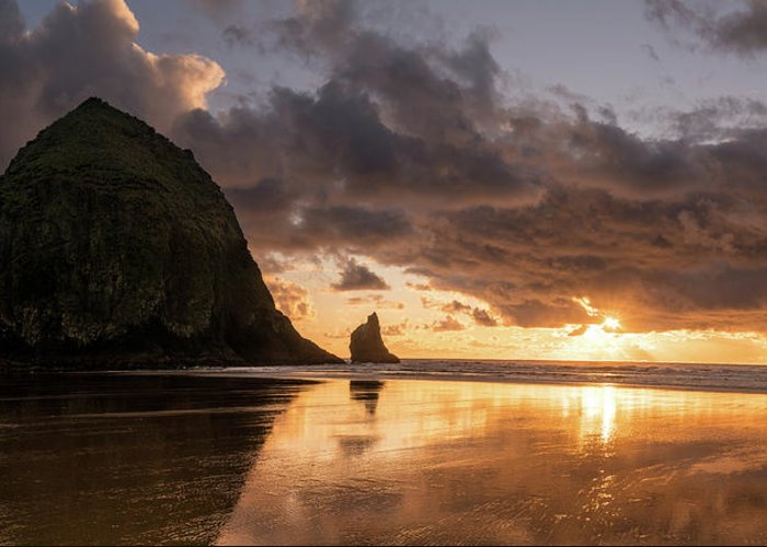 Landscape Greeting Card featuring the photograph Cannon Beach Sunset by Justin Johnson