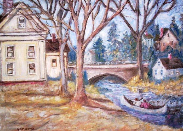 Landscape Canoes Bridge Houses Greeting Card featuring the painting Canoe And Bridge by Joseph Sandora Jr