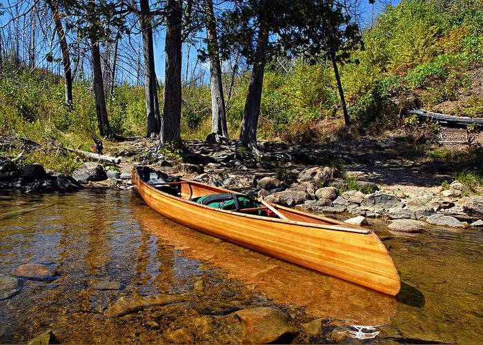 Boundary Waters Canoe Area Wilderness Greeting Card featuring the photograph Canoe At Portage Landing by Larry Ricker