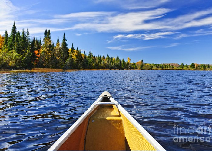 Canoe Greeting Card featuring the photograph Canoe Bow On Lake by Elena Elisseeva