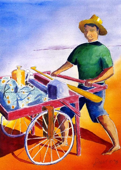 Fisherman Greeting Card featuring the painting Canoe Fisherman With Cart by Buster Dight