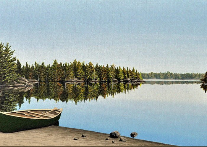 Canoe Greeting Card featuring the painting Canoe The Massassauga by Kenneth M Kirsch