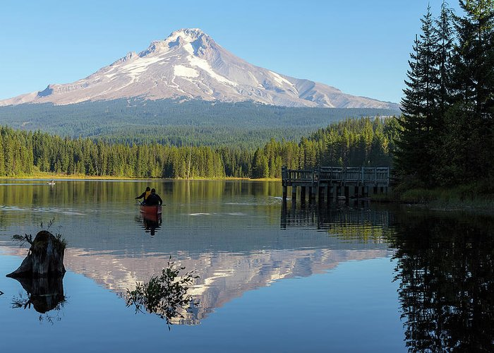Canoe Greeting Card featuring the photograph Canoeing At Trillium Lake by David Gn