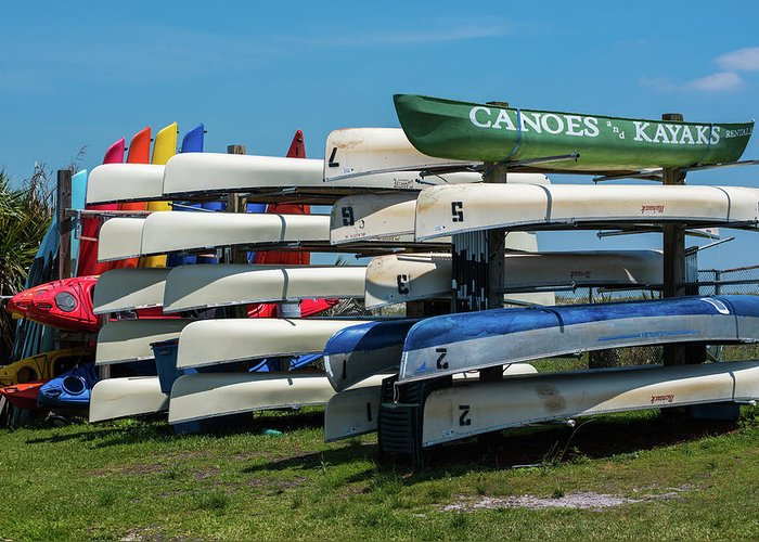 Canoe Greeting Card featuring the photograph Canoes Cascaded by Jim Cole