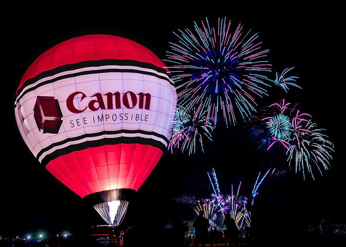 Albuquerque Greeting Card featuring the photograph Canon - See Impossible - Hot Air Balloon With Fireworks by Ron Pate