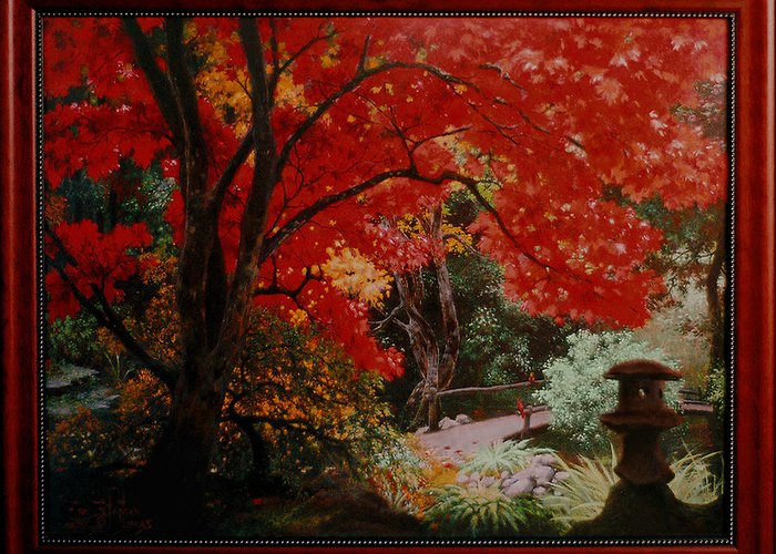 Oriental Greeting Card featuring the painting Canopy Of Red by Stephen Lucas