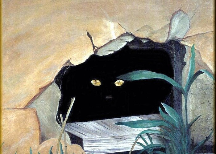 Cats Greeting Card featuring the painting Can't See Me by Merle Blair