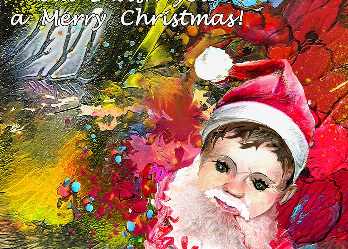 Santa Baby Painting Greeting Card featuring the painting Cant Stop Now by Miki De Goodaboom