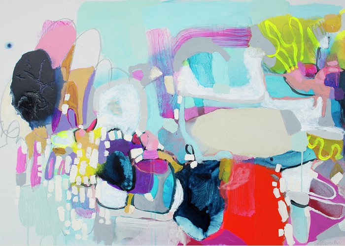 Abstract Greeting Card featuring the painting Can't Wait by Claire Desjardins