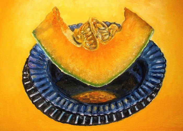 Cantaloupe Greeting Card featuring the painting Cantaloupe Oil Painting by Natalja Picugina